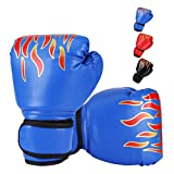 DTOWER Mini Boxing Gloves for Training, Sparring, Kickboxing & Fighting, Kids Boxing Gloves for Punching Bag Training Youth Training Gloves PU Leather Boxing Gloves for Kids, Teens, Beginners - Blue