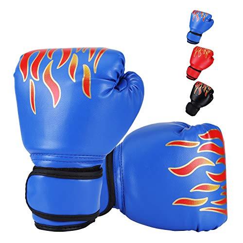 DTOWER Mini Boxing Gloves for Training, Sparring, Kickboxing & Fighting, Kids Boxing Gloves for Punching Bag Training Youth Training Gloves PU Leather Boxing Gloves for Kids, Teens, Beginners - Blue