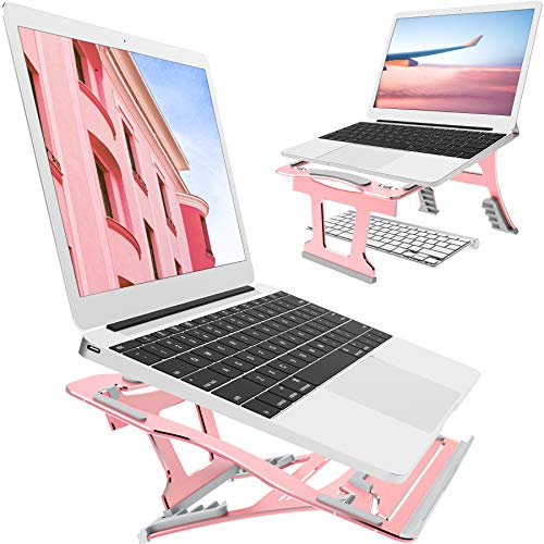 2 In 1 Adjustable Laptop Stand, 9 Angles, 3 Folding Modes. Portable Ergonomic Angled Laptop Aluminum Stand. Adjustable Height Laptop Holder with Slide-Proof Silicone. For Laptop 10''~15.6''(Rose Gold)