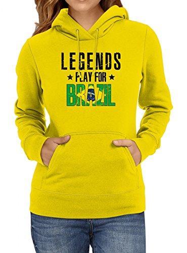 Shirt Happenz Brasilien Weltmeisterschaft 2018#28 Premium Hoodie Fan Trikot Fußball WM Nationalmannschaft Frauen Kapuzenpullover, Farbe:Gelb;Größe:XS