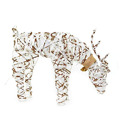 SHATCHI Pre-Lit Tabletop Centrepieces Snowman/Tree/Reindeer Twig Rattan with Warm White LEDs Christmas Holiday Home Garden Decoration, 66x17x43H CM