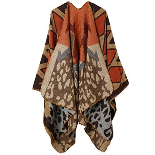 Cardigã KESYOO quente com capa aberta na frente grande, poncho de inverno xale, cardigã para mulheres e meninas (laranja cáqui), Cáqui laranja, 150X130cm