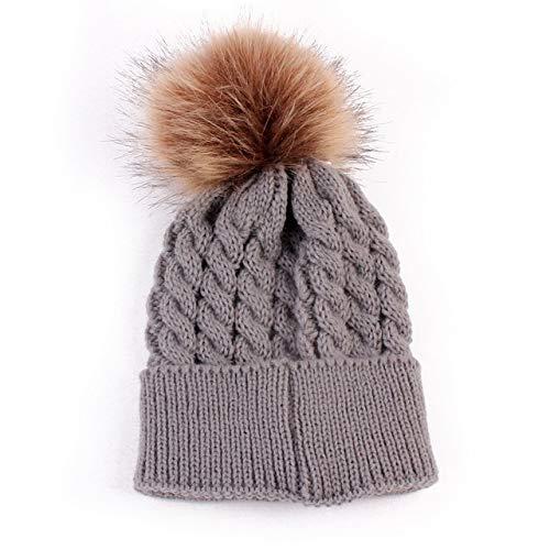 Säugling Baby Boy Girl & Mom Winter Stricken Warme weiche Beanie Hut Hairball Cap...