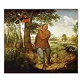 Obra de arte Impresiones en lienzo Bruegel Pieter El campesino y el ladrón de nidos Pintura en lienzo Estética para decoración del hogar 50x56cm (20x22in) Sin marco