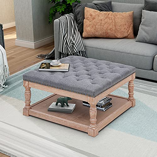 """MAYPEX 30"""" Shelved Tufted Square Cocktail Ottoman French Country Style Featured Solid Wood Button Tufted Footstool Grey"""