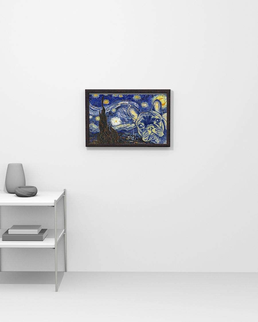Bulldog Wants a Bone Dog Art Print Starry Night van Gogh Decor by Aja