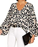 Imysty Womens Oversized Lantern Sleeve Chiffon Blouse Tops Casual Loose V Neck Shirts Pullover (Large, Leopard)