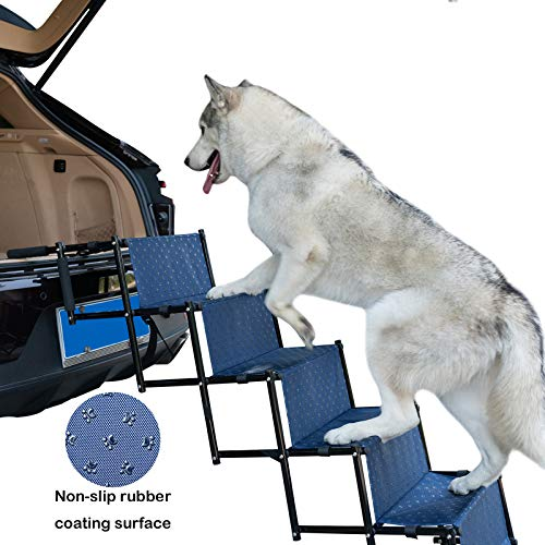 YEP HHO 5 Steps Upgraded Folding Pet Stairs Ramp Lightweight Portable Dog Cat Ladder with Waterproof Surface Great for Cars Trucks SUVs(Navy)
