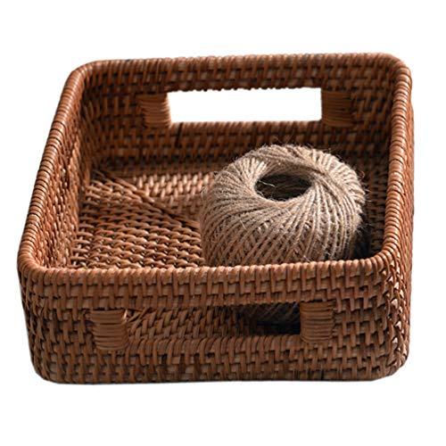 Doitool 1 x Rattan-Schreibtisch-Korb, rechteckig, gewebter Korb mit Griffen, für Badezimmer und Schreibtisch