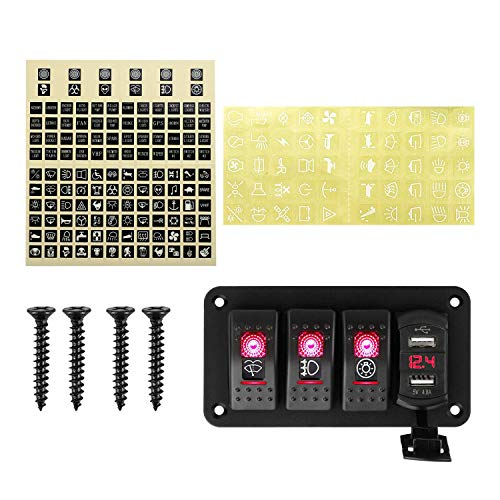 Fauge Panel de Interruptor Basculante de Palanca de 4 Bandas con USB para Coche, Barco, Marina, RV, CamióN, LED Rojo