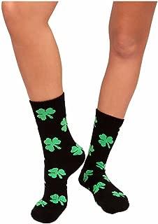 Green Clovers Athletic Socks Shamrock St. Patrick's Day Irish Unisex Crew socks