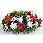 XL-Christmas-Mixture-Artificial-Silk-Flower-Cemetery-Tombstone-Grave-Saddle