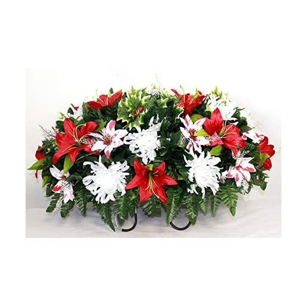 XL Christmas Mixture Artificial Silk Flower Cemetery Tombstone Grave Saddle