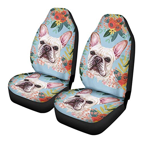 Xhuibop Front Seats Cover for Car Funky Cushion Saddle Blanket Cover for Women Flower French Bulldog Auto Seats Protector Accessories