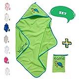 Juego de toallas con capucha para bebé con manopla de baño | Toalla con capucha | Personalizable con nombre | Toalla de baño para bebé bordada con nombre | Niño niña (tortuga verde)