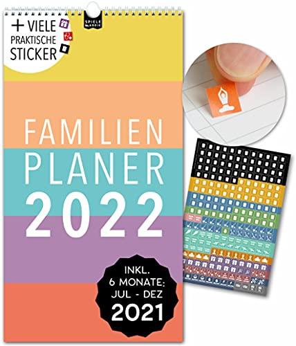 Spielefabrik Familienkalender 2022 Kalender 2022 Wandkalender 2022 in 23x43cm Familienplaner 2022 mit 5 Spalten inkl. Familienplaner 2021 von Juli 21 - Dez 22 Mit Stickern, Tasche, Ferien DAS ORIGINAL