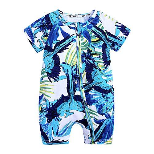 Baby Body Strampler Einteiliger für Mädchen, Chickwin Sommer Blumen Tier Drucken Kurzarm Baumwolle Spielanzug Schlafanzug für Neugeborene,Babies und Kleinkinder (66cm,Blauer Papagei)