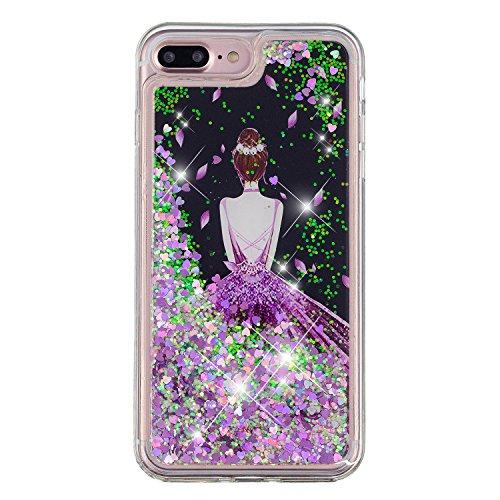 Per iPhone 7 Plus/iPhone 8 Plus Cover Glitter Liquid, HengJun Luxury Custodia in silicone trasparente per TPU Gel scintillante Smartphone iPhone 7 Plus/iPhone 8 Plus - ombra