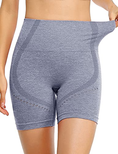 BLEVONH Butt Lift Shorts,Women Elastic Bands Performance Booty Short Pants Ladies Hole Hem Running Lounging Shorts Blue-Grey M