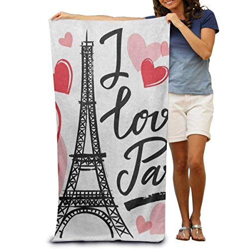 jhgfd7523 Toalla de baño súper suave con frase en forma de corazón de la Torre Eiffel de Francia, toalla de playa de secado rápido, toalla de natación, toalla de spa, tamaño grande 78,7 x 129,5 cm