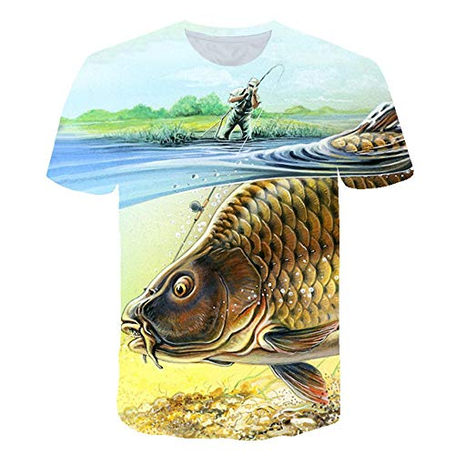 XIAOBAOZITXU T-Shirt 3D Digitale Print Pullover Korte mouw Golden Big Fish Slim Fit Cool Grappige Zomer Unisex Paar Kostuum
