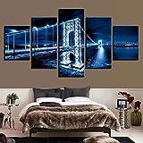 Cuadros Decoracion Vista Nocturna De La Ciudad Cuadros Modernos Impresión de Imagen Artística Digitalizada, Salón o Dormitorio Tu Lienzos Decorativos Puente De Londres Cuadros Decorativos 5 Piezas
