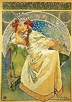 ポスター ミュシャ 『ヒヤシンス姫』 サイズ:A3【返金保証有 日本製 上質】 [インテリア 壁紙用] 絵画 アート 壁紙ポスター