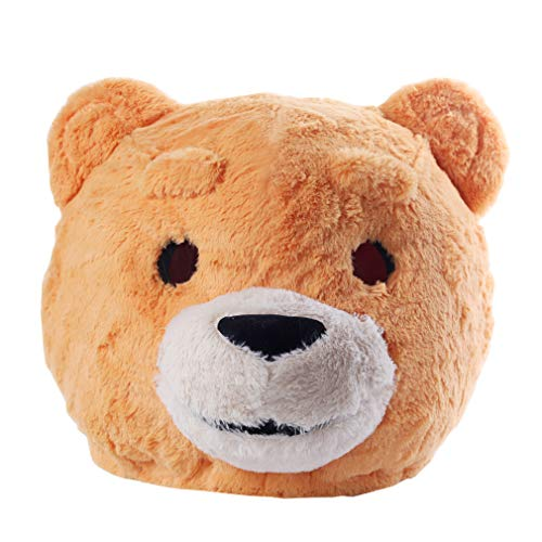 Plush Teddy Bear Head Mask Halloween Teddy Bear Mascot Costume Yellow