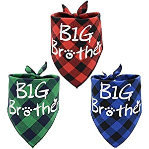 3 Pack Big Brother Dog Bandanas Plaid Reversible Triangle Bibs Pet Scarf Accessories