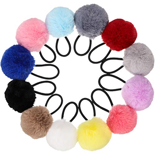 24 Pieces Pom Ball Elastic Hair Ties Cute Pompom Hair Bands pom pom hair tie Colorful Ponytail Holders for Girl Women