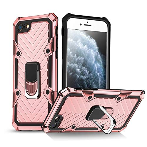 COOVY Funda para iPhone 7/8/SE 2020 Funda PC + Silicona TPU Extra Fuerte, antigolpes, función Atril, Anillo de Soporte + Soporte magnético Compatible   Oro Rosa