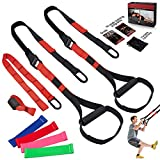 WBE Bodyweight Resistance Training Straps, Complete Home Gym Fitness Trainer kit for Full-Body Workout, Included Door Anchor, Extension Strap, 16 Week Program, Fitness Guide and 4 Bands (Red)