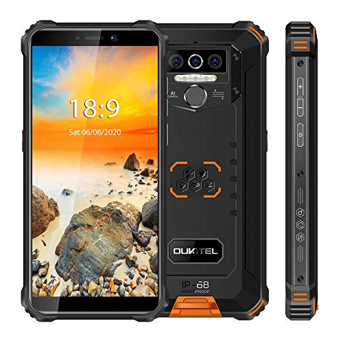 Smartphone irrompible OUKITEL WP5 Pro, Pantalla 5.5', Batería de 8000mAh, 4 GB + 64 GB, Teléfono móvil 4G Desbloqueado Android 10 Impermeable IP68, 4 linternas LED, Cámara 13MP, Doble SIM (Naranja)