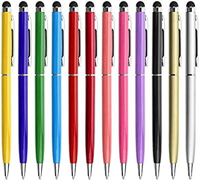 LIBERRWAY 12 Pcs Stylus Pens for Touch Screens Pen Stylus with Black Ballpoint Pens 2-in-1, Tablet Stylus Compatible with iPad iPhone Kindle Mobile Phone Samsung Galaxy All Capacitive TouchScreens