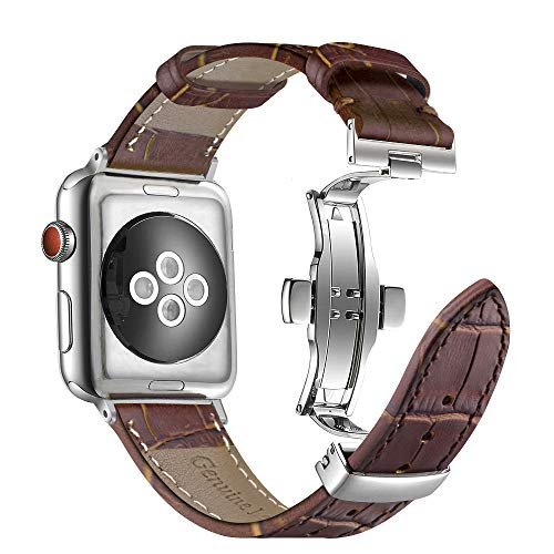 Aottom Kompatibel Armband für Apple Watch 42mm Series 3 Leder Braun,Lederarmband Apple Watch 4 44mm Leder Ersatzarmband iWatch 42mm Gliederarmband Armbänder für...
