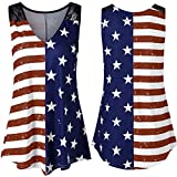 2019 Fashion!Women American Flag Print Vest Lace V-Neck Independence Day Party Tank Tops from Leewos Hot Sale!