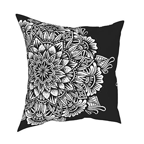 DearLord Fundas de cojín con diseño de mandala en blanco y negro de doble cara, fundas de almohada cuadradas para sofá dormitorio con cremallera invisible 45,7 x 45,7 cm