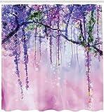 Brandless Glyzinien Blumen Baum Verschwommen Design Polyester Stoff Bad Duschvorhang Marine Flieder Aubergine Blau Violett-B180xH200cm