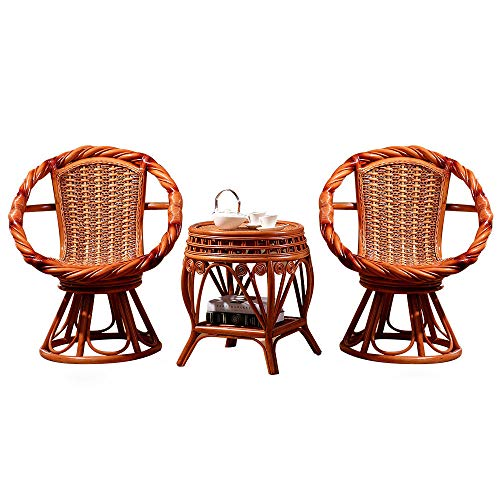 NVBXDF Rattan Chairs Rattan Furniture Set – Balcony Furniture - Lounge Furniture Terrace - Garden Furniture - Table Set Balcony Lounge Set 2x Chairs Rattan And 1x Table Rattan Garden