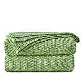 Longhui bedding Green White Knitted Throw Blanket for Couch, Soft, Cozy Machine Washable 100% Cotton Sofa Knit Blankets, Heavy 3.0lb Weight, 50 x 63 Inches, Grass Green