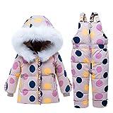 Bebé Chicas Invierno Trajes de Nieve Capucha Abajo Chaqueta Pantalones de Nieve Niños Snowsuit Traje de Esquiar 2 Piezas Ropa Conjuntos Beige 3-4 Años