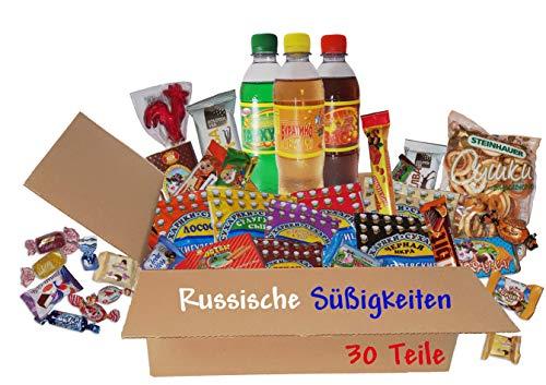 QueenBox® Russische Süßigkeiten Snacks & GetränkeChips,Schokolade,Gebäck 30 Teile Wechselndes Sortiment