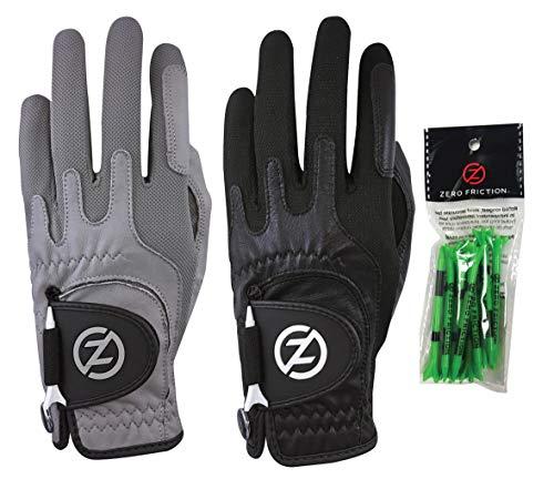 Zero Friction Herren Golfhandschuh Cabretta Elite GL72001, 2 Stück, gratis Teepack, getragen auf der linken Hand (nur Handschuhe), Grau & Schwarz, universelle Passform