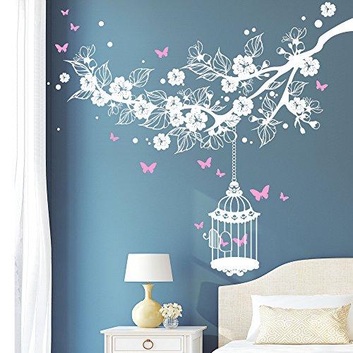 Wandtattoo Kirschblütenast Vogelkäfig Schmetterlinge (2farbig) / weiß / 55 x 63 cm