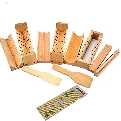 Warrah - Kit per sushi in legno di faggio, per sushi in legno di faggio naturale, stampo per rotolo di riso (intero set)