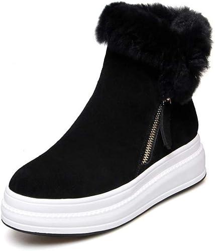 YAN Botines para mujer botas de Cuero con Fondo Plano Casual botas Calientes Botines de Invierno botas Gruesas de Terciopelo para la Nieve negro