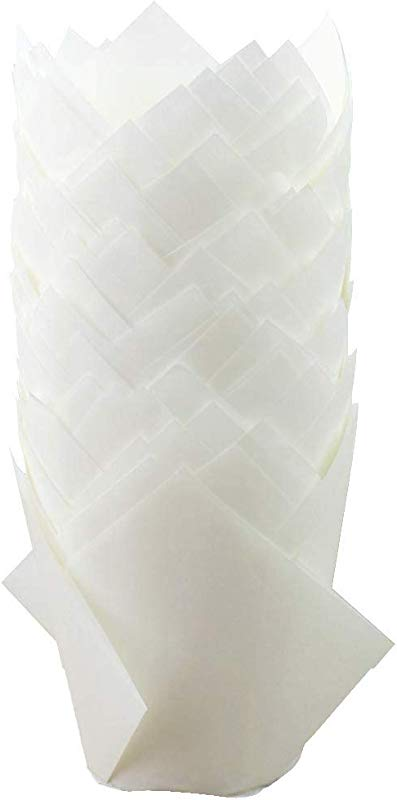 Eoonfirst Tulip Cupcake Liners Baking Muffin Cups 100 Pcs White