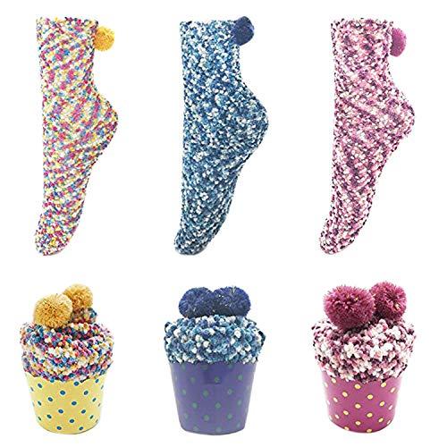 LAEMILIA 3 Paar Damen Mädchen Socken Wärmer Elegant Stricken Wintersocken Verdickte Fußbodensocken Cupcakes Design