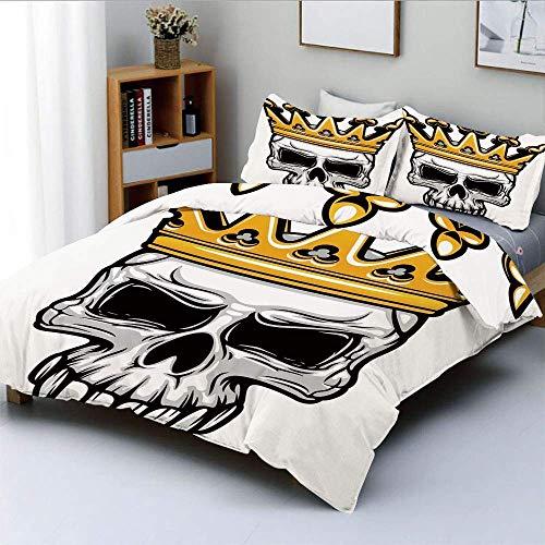 Bettbezug-Set, handgezeichnete gekrönte Schädel Schädel mit Coronet Tiara Halloween Themed Image DecorativeDecorative 3-teilige Bettwäsche-Set mit 2 Kissen Sham, golden und hellgrau, BES