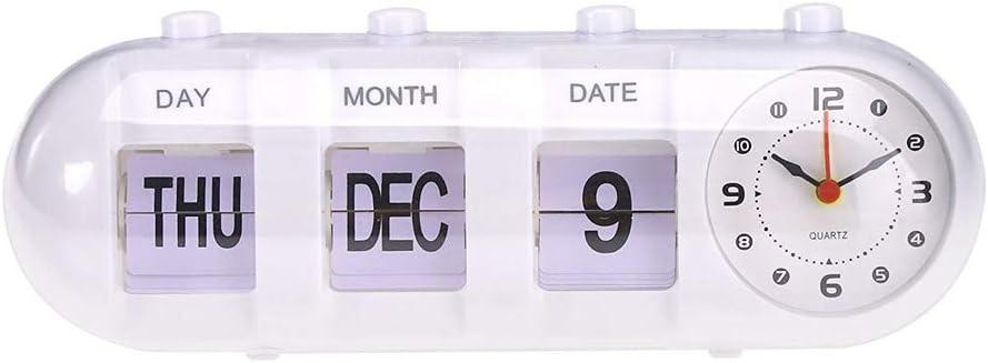 Simple sold out Manual Flip Alarm Clock Special sale item Calendar Quartz Date Day Digital